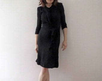 40s Black Fitted Glamour Dress Extra Small
