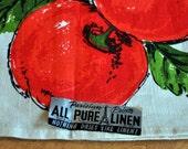 Parisian Print DISH TOWEL - Red Cherries -  Pure Linen - Never Used