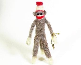 Needle Felted Miniature Sock Monkey, Fiber Art Monkey, Soft Sculpture