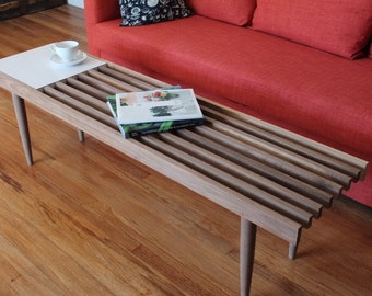 The Atherton - Mid Century Modern Slat Coffee Table / Bench