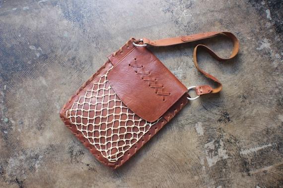 Leather Net Bag / Bohemian Purse / Brown Leather Vintage Handbag