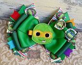 Stacked Boutique Hairbow with Ninja Turtles Felt Clip Center - ComicCon Hair Clip - Turtle HandSewn Bow - Superhero- RTS (Ready to Ship)
