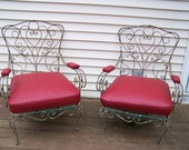 vintage pair of french style wrought iron garden chairs,beautiful red patio chairs,iron scroll chairs,chippy white paint,fab iron chairs