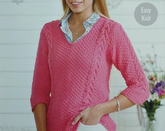 Knitting Pattern Ladies Cable Jumper : Double moss stitch Etsy