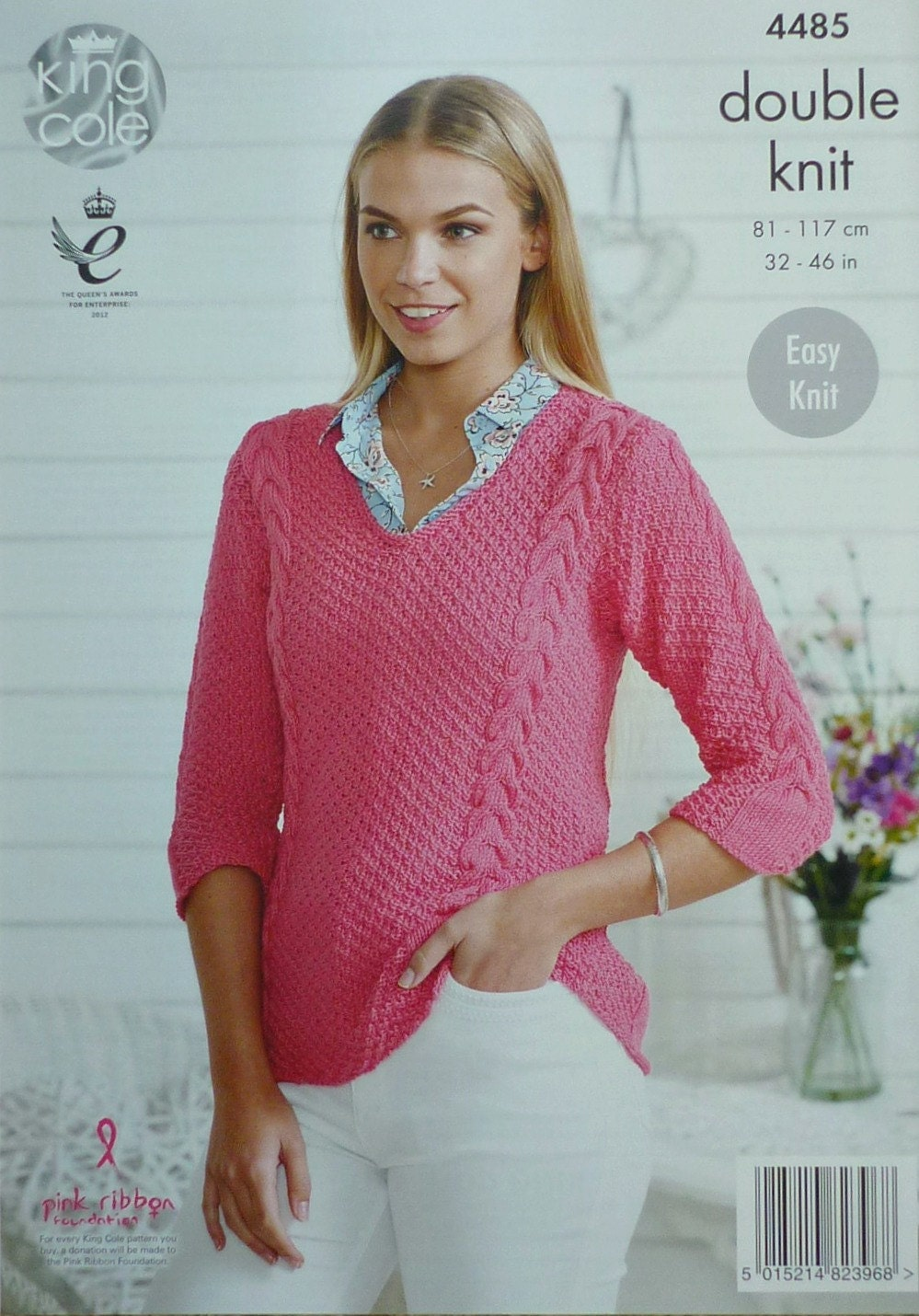 Womens knitting pattern k4485 ladies easy knit 34 sleeve v neck womens knitting pattern k4485 ladies easy knit 34 sleeve v neck cable moss stitch jumper knitting pattern dk light worsted king cole bankloansurffo Image collections