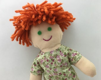 ERIN--cloth doll in green paisley dress--light skin, orange hair, green eyes (FREE shipping in USA)
