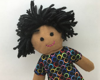 EMMA--cloth doll in black neon circles dress--brown skin, black hair, black eyes (FREE shipping in USA)
