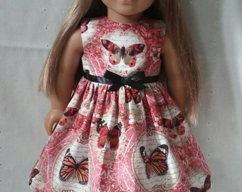 18 Inch Doll-American Girl Dress with optional beret: Chinoise Butterfly