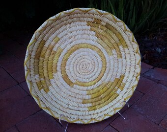 Vintage Native American Tohono O'odham Large Hand Woven Basket Geometric Pattern Fiber Arts Basket Weaving