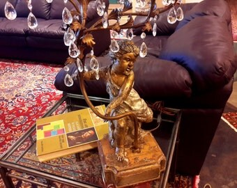 ITALIAN Tole 5 Arm Candelabra Lamp Hand Carved Wood Cherub Gold & Silver Gilded Prisms Embellishments New York Paris Chic