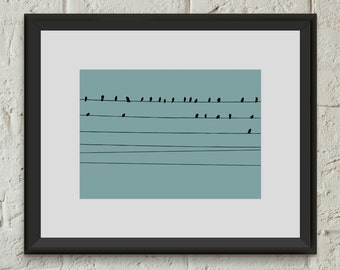 Birds Wall Art Poster Print Birds on Wires Animal Giclee Home Dorm Room Office Decor Gift