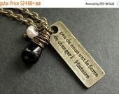 VALENTINE SALE Kennedy Quote Necklace. French Necklace with Black Teardrop and Fresh Water Pearl. Handmade Jewelry.