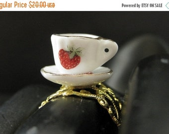BACK to SCHOOL SALE Strawberry Teacup Ring. Porcelain Tea Cup Ring. Gold Filigree Adjustable Ring. Handmade Jewelry.