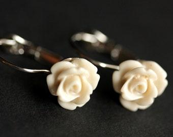Ivory Rose Earrings. Dangle Earrings. Ivory Earrings. Ivory Flower Earrings. Silver Lever Back Earrings. Flower Jewelry. Handmade Jewelry.