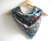 Vintage Scarf Fab 1950's Turquoise Patterned Vintage Scarf Tue Up Headscarf