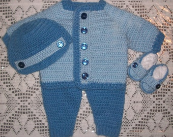 Crochet Baby Boy Sweater Set With Leggings and Booties Layette Perfect For Winter Baby Shower Gift or Take Me Home Outfit
