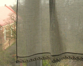 Natural Linen Curtain Vintage Lace Curtains Cafe Curtains Washed Linen Gray Kitchen Curtains Lace Panels Curtains Burlap Curtains Panels