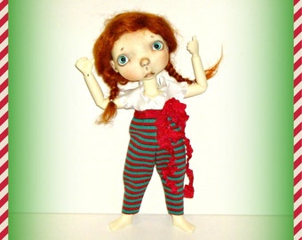 """Handmade Outfit """"Christmas Casual"""" for 10"""" Sprockets Doll by Connie Lowe Yo SD BJD, Red Green Stripey Poof Pants, White Ruffly Blouse"""