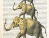 LEGEND OF ETSY elephant acrobats art animal fauna vintage dictionary art illustration wall decor