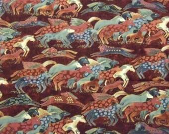 OOP Laurel Burch DANCING HORSES Fabric - Medium Earth Tones Teals Running Horses on Rusty-Red Background Fat Quarter