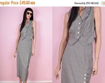 SUMMER SALE 90s Houndstooth Top and Skirt Set
