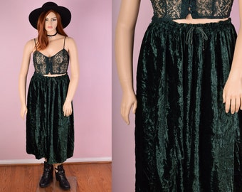 90s Green Crushed Velvet Skirt/ 30-44 Waist/ Gathered Skirt