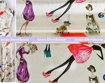 Stretchy Silk Satin Fabric , fashion lady digital printing , fashion design silk supplies