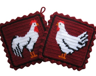 Chicken Pot Holders. Crochet, burgundy potholders with a black and white rooster and hen.