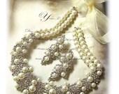 Bridal jewelry set, pearl necklace, wedding jewelry set, Bridal necklace earrings, Formal jewelry, pearl crystal jewelry,Ballroom jewelry