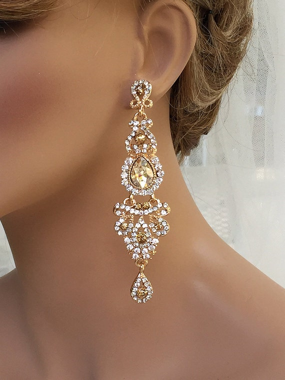 Bridal jewelry bridal earrings wedding jewelry champagne for Jewelry for champagne wedding dress