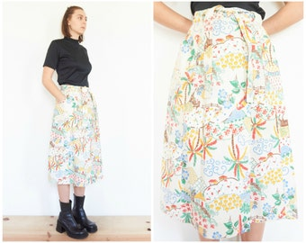 70s Tropical Folk A-Line Midi Skirt / Canvas Wrap Skirt / Size Small-Medium