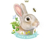 Lucky Bunny art print by Fiammetta Dogi 5x7 - bunny illustration