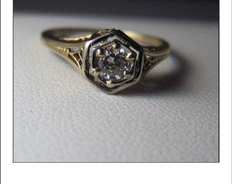 Antique Art Deco 14k Diamond Filigree Engagement Ring inscribed RPW to CMA 2-22-22