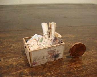 dollhouse miniatures. wooden crate in walnut wood