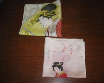 Pair of Japanese motif handkerchiefs