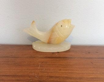 Vintage Carved Marble Fish Incense Burner / Fish Pen Holder / Marble Paperweight