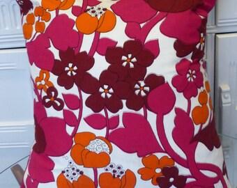 VINTAGE Cotton Pillow Cushion FABRIC 1960s Retro Floral Cotton Flower Power