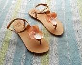 Blush Pink Bridal Sandals,  Floral Sandals, Wedding Party Flats, Nude Bridesmaid Sandals, T-bar Natural Leather Sandals