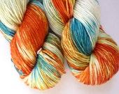 Merino Silk Yarn - Hand Dyed 50/50 Merino Silk Fingering Weight in Fire and Ice Colorway