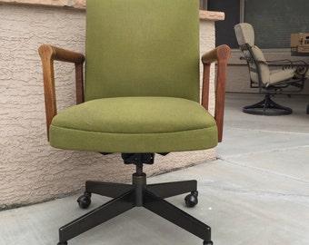 Mid-century office chair desk swivel Danish Modern teak wood avocado tweed upholstery metal base Gunlocke