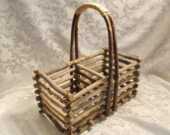 Vintage Adirondack Twig Basket- Hand Crafted, Rustic Country Decor