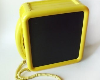 "Vintage Western Electric Yellow Trimline Rotary ""Noteworthy"" Wall Phone w/Chalkboard, Corkboard, Near Mint"
