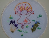 Witty's Paper Cutout Dolls, Art in Hoops, Hand Embroidered Girl Jumping Rope, Embroidery in Hoops,