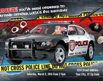 Personalize Police Officer Party Invitation, Police Birthday Invite - Drive Police Car