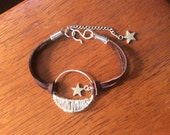 Crescent moon wire wrapped bracelet,crescent moon and star wire weave and leather bracelet