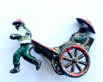 Antique Figural Chinaman Pulling Cart Collectible Vintage Oriental Jewelry