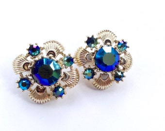 Blue Rhinestone Silver Tone Clip On Cluster Earrings Vintage Fashion Jewelry Accessory