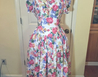 Vintage Garden Party Dress Pretty in Pink Shabby Rose Floral Robbie Bee USA 20% Coupon