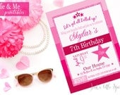 Doll Party invitation, Dollie and me theme party, Doll theme, Doll theme party invite