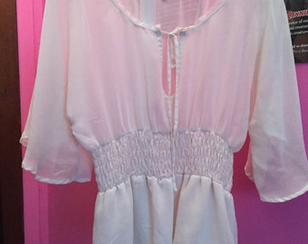 Vintage sheer white peasant blouse